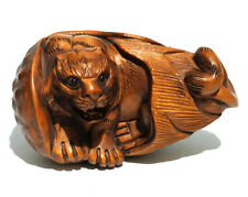 """Y5602 - 20 Years Old 2"""" Hand Carved Boxwood Netsuke : Tiger"""