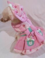Dog harness dress set/dog dress/dog clothes/ Apple Picking xs,s,m,l FREE SHIP