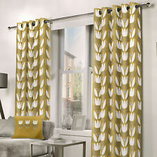 Ochre Mustard Eyelet Curtains Floral Tulip Flower Lined Ring Top Curtains Pair