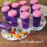 15 Purple JARS Plastic Container Pink Lids Candy Doc McStuffins DecoJars # 4314