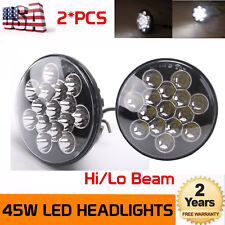 "2X 7""Inch 45W CREE LED HeadLight Offroad 4x4WD Truck Hi/Lo Clear Sealed Round"