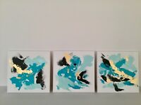 "Original Painting Abstract Acrylic Art on canvas Set of 3 paintings 10""x10 each"