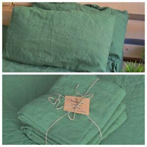 LINEN SHEET SET in a treetop green Queen King Twin linen bedding set Luxury Eco