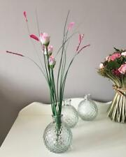 3 Clear Glass Round Bud Vases Vintage Chic Mini Bottles WEDDING-Home Decoration