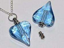 1 Glass Heart pendant cremation urn ashes perfume bottle Screw cap NECKLACE BLUE