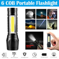 Portable T6 COB LED Tactical USB Rechargeable Zoomable Flashlight Torch Lamp US