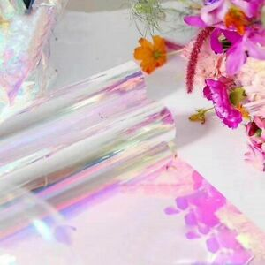 Iridescent Flower Bouquet Wrapping Paper 20 Inchx10 Yard Cellophane Rainbow Film