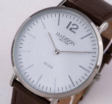 MADISON NEW YORK Armbanduhr Herrenuhr Uhr flach Lederband braun NEU 36