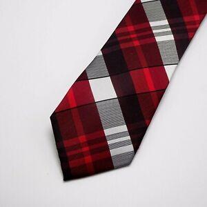Calvin Klein Silk tie Extra Long Red Black Gray Plaid