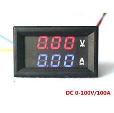 Mini DC 100V 50A Digital Voltmeter Ammeter Blue Red LED Volt Amp Meter Gauge x1