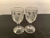 "Set of 2 Vintage Prescut Clear Glass Stemmed Cordial Liqueur Glasses 4"" tall"