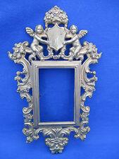 "Vintage Brass Wall Picture Frame CHERUBS Crest Floral Crown Scrolls Cuts 9"" VGUC"