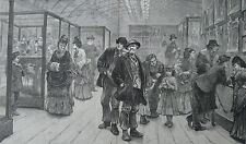 1873 Large Antique Print- Bethnal Green Museum - London East Enders - Art Show
