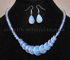 6-20mm Clear Moonstone Gemstone Beads Pendants Necklace + Earrings Jewelry Set