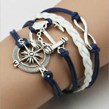 Fashion Leather Infinity Nautical Silver Charm Jewelry Bracelet US Seller 4 in 1