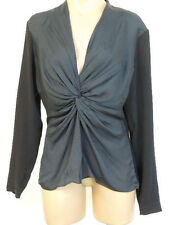 ESCADA Navy Nediljka Knotted Twisted V Neck Empire Waist Blouse 40 NWT $575