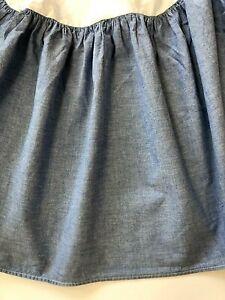 "VINTAGE Ralph Lauren TWIN Bed Skirt Dust Ruffle 15"" Drop Blue Chambray Oxford"