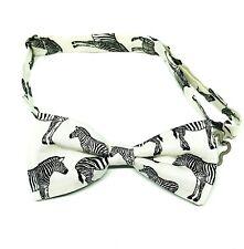 Luxurious Handmade Self Tie Bow Tie White Black Giraffe Animal Fully Adjustable