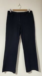 "Sportscraft Size 12 Pants - Navy Blue - Suede Feel - Mid Rise Straight 30.5"" Leg"