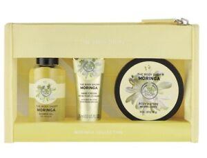 The Body Shop 3-PC MORINGA Bath Gel Hand & Body Lotion Cosmetic Bag NEW