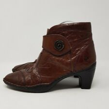 Josef Seibel Brown Leather Ankle Boots UK 3 EU 36 Strap Close & Heel Quirky Boho