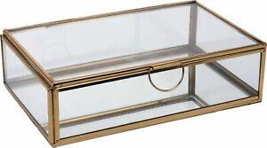 Clear Glass & Jewellery Box With Gold Trim Rings Bracelet Trinket Display Box