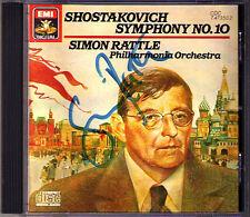 Simon RATTLE Signiert SHOSTAKOVICH Symphony No.10 EMI CD Philharmonia Orchestra