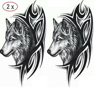 Wolf Tribal Einmal Tattoos Wolfs Hund (2er Set) Temporary TattooSticker 19x12cm
