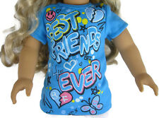 """Blue BFF Best Friends Forever T-Shirt  for 18"""" American Girl Doll Clothes"""