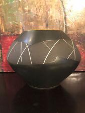 Barlow's Jackson Hole Wyoming Studio Pottery Large Black Gold Signed Vase 10/75