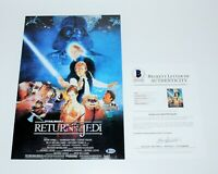 GEORGE LUCAS SIGNED STAR WARS 'RETURN OF THE JEDI' MOVIE POSTER BECKETT COA BAS