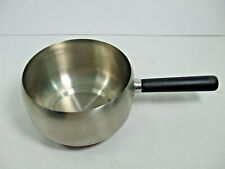 "Fondue Melting Pot Round Stainless Steel Black Handle Cheese Chocolate 6"" Round"