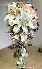 Wedding Bouquet, Teardrop Bridal, Bride, Vintage Pink, Cream Rose & Lily Display