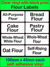 flour labels clear vinyl black text Storage Stickers bread cake pastry wheat