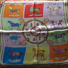 Vintage Style Print 100% Charmeuse Silk Scarf,Red Hem