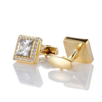 Gold Square Zircon Full Diamond Crystal Cufflinks Men's Shirt French Sleeve Cuff