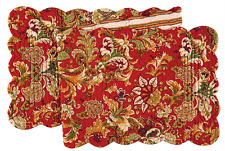 """JOCELYN RED Quilted Reversible 51"""" Table Runner by C&F - Red, Green, Gold, Beige"""