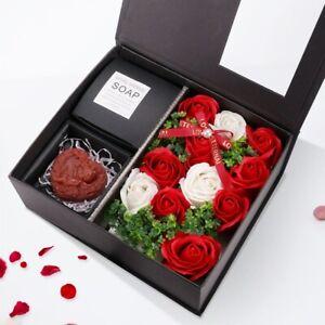 Rot Rosen in Geschenk-Box Floral Duftende Badseife Muttertag Rosen-Duftseifen