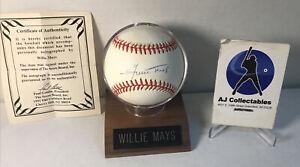 Willie Mays autographed national league baseball w/coa Giants hof jl/g2