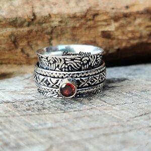 Garnet Ring Spinner Ring 925 Sterling Silver Plated Handmade Ring Size 8 ss135