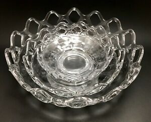 Imperial Glass Ohio Lace Edge Clear Diamond Pattern 10.5 Bowl