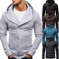 Men's Sweatshirt Hoodies Coat Long Sleeve Zip UP Tops Solid Tracksuits Jacket