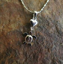 Hawaiian Jewelry 925 Sterling Silver Turtle with Heart Pendant SP22601