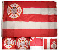 Embroidered New York City Fire Dept 300D NYFD Nylon Flag 3'x5' 3 Clips