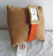 Brandneu Tory Burch TRB2003 Buddy Signatur Orange Leder Schweizer DAMENUHR
