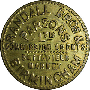Brass 5 Shilling Token Randall Bros & Parsons Ltd Smithfield Market Birmingham