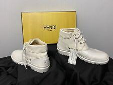 Fendi AUTHENTIC Women Ankle Rain Boots, White Size 8 Italy 38