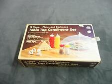 vintage Hoan brand 12 piece picnic and barbecue table top condiment set retro