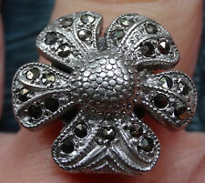 vintage STERLING SILVER marcasite daisy flower dress ring 1950s -C8