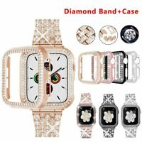 Diamond Strap With Case for Apple Watch Band Protective Cover Bracelet SE 6543